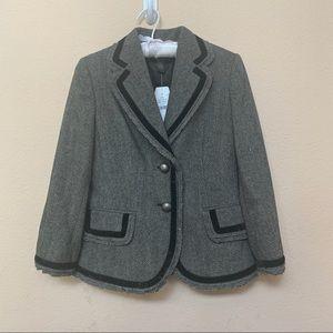Banana Republic Factory Black Grey Wool Blazer NWT